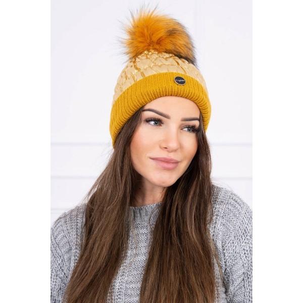 Auksinės spalvos moteriška kepurė