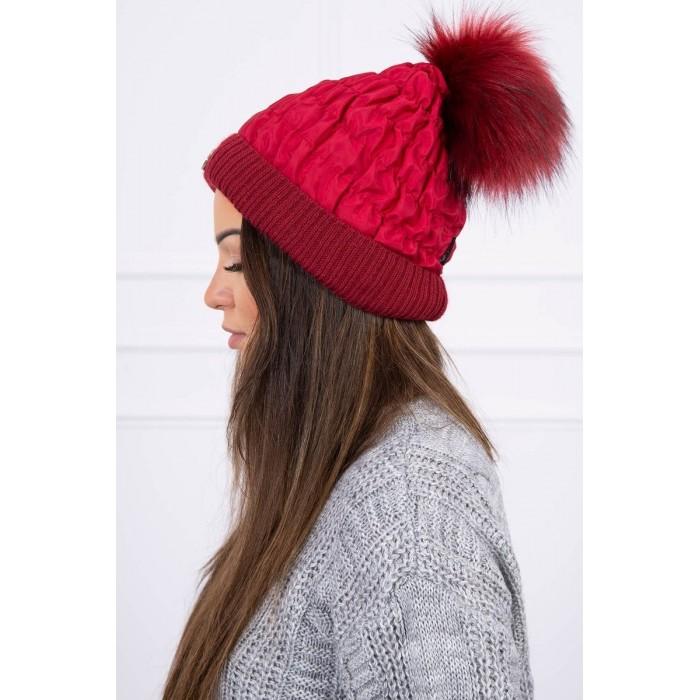 Bordo spalvos moteriška kepurė